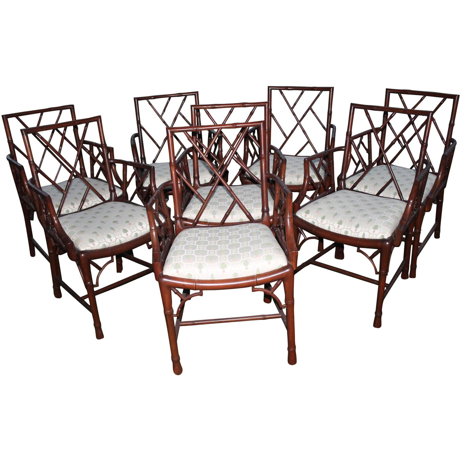 Chinese Chippendale Set of Eight Faux Bamboo Dining Arm Chairs
