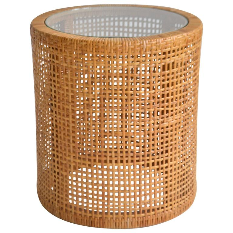 Midcentury Woven Cane Drum Form Side Table At 1stdibs