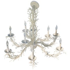 Coral Shell Chandelier Palm Beach Nine Light Shades Metal Hollywood Regency