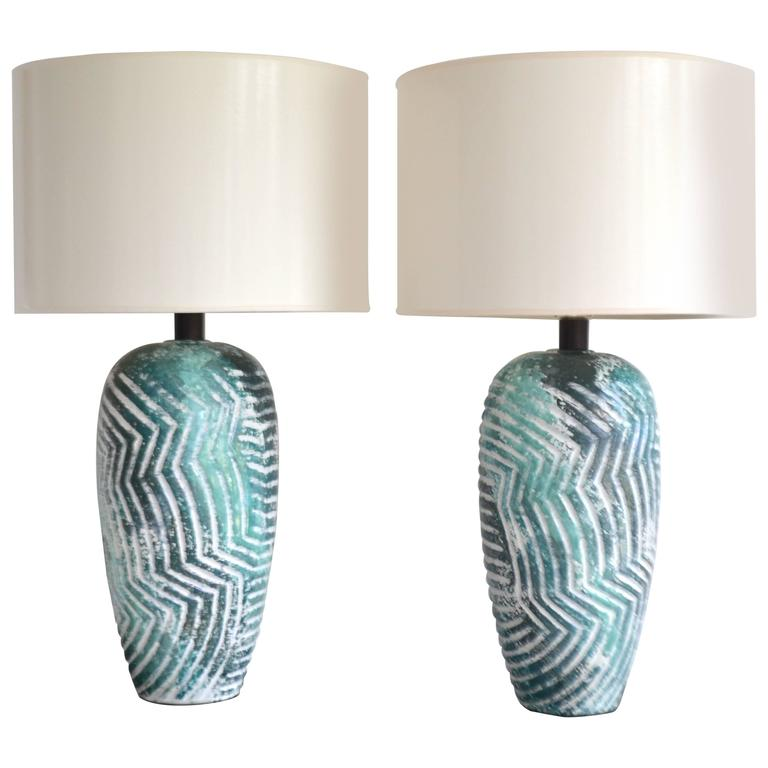 Pair of Graphic Postmodern Ceramic Jar Form Table Lamps