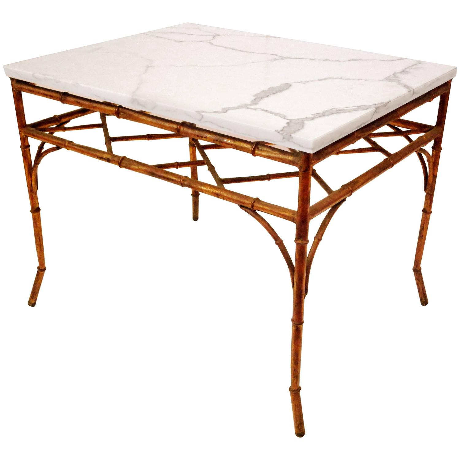 Hollywood Regency Faux Bamboo Gilt Metal And Marble Cocktail End Table At 1stdibs