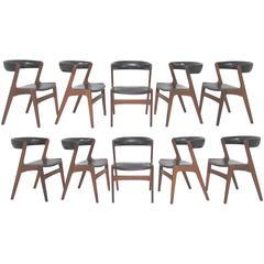 Set of Ten Danish Teak Dining Chairs by Kai Kristiansen, circa 1960s