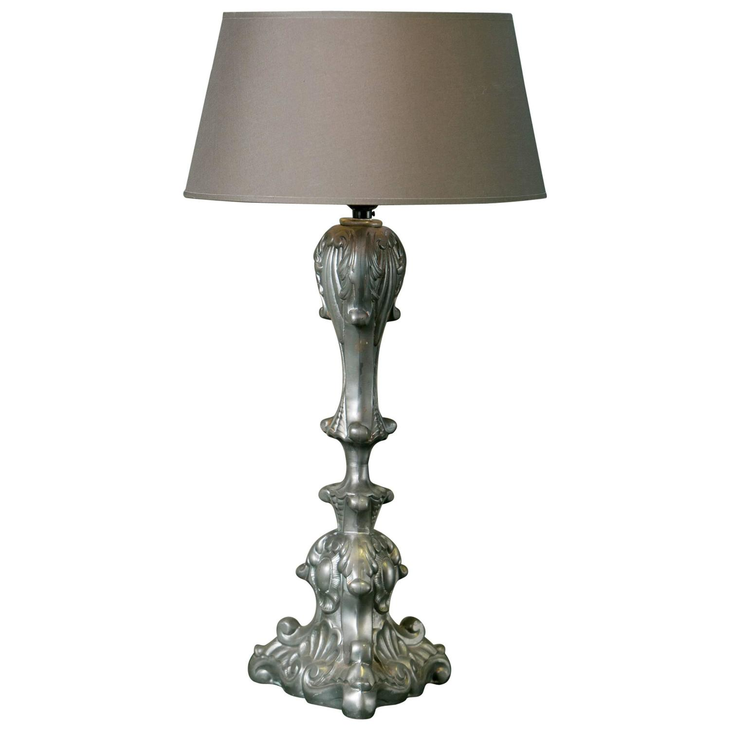Vintage Belgian Pewter Table Lamp With Custom Belgian