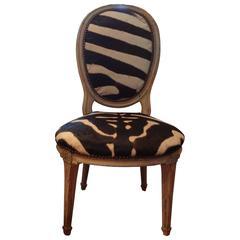 Antique French Louis XVI Style Children's Chair In Zebra Hide