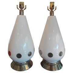 Pair of Italian Mid Century Modern White Porcelain and Brass Lamps