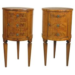 Pair of Italian Neoclassical  Inlaid Walnut Commodini