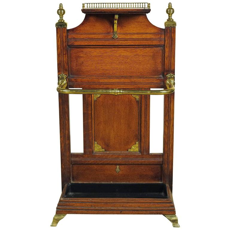 Aesthetic Movement Oak and Brass Umbrella Hall Stand For Sale