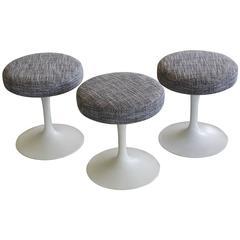 Set of Three Saarinen 'Tulip' Swivel Stools Newly Upholstered for Knoll Int'l