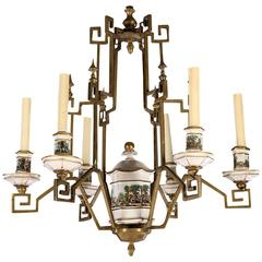 French Pagoda Style Bronze and Porcelain Chandelier