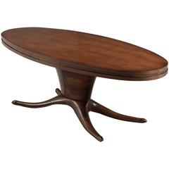 Italian Oval Dining Table in Walnut , 1950s
