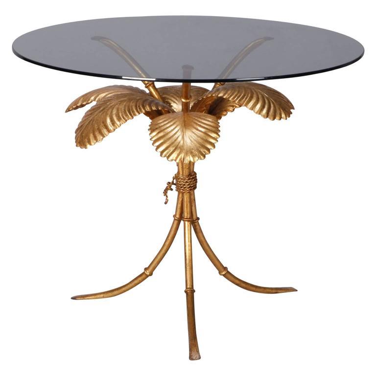 Midcentury Italian Gilt Metal Palm Leaf Side Table