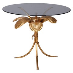Midcentury Italian Gilt Metal Palm Leaf Side Table