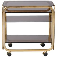 Mid-Century Brass-Plated Bar or Serving Cart with Smoked Glass