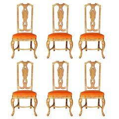 Set of Six Queen Anne Style Chinoiserie Dining Chairs
