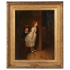 Oil on Canvas Painting of Children Playing, Signed F.W. Lawson, circa 1895