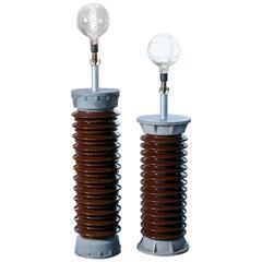 """Industrial Vintage Belgian """"Insulator"""" Floor Lamps"""