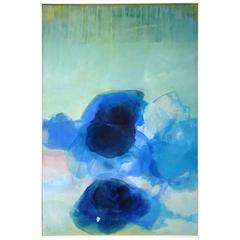 """Large Ethereal David Bell Abstract Painting, """"Untitled Blue #3"""", 2016"""