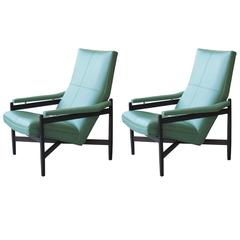 Pair of Midcentury Italian Rosewood Lounge Chairs