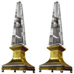 Spectacular Pair of Big Obelisk French Lucite Lighted Lamps on Gold Bronze Base
