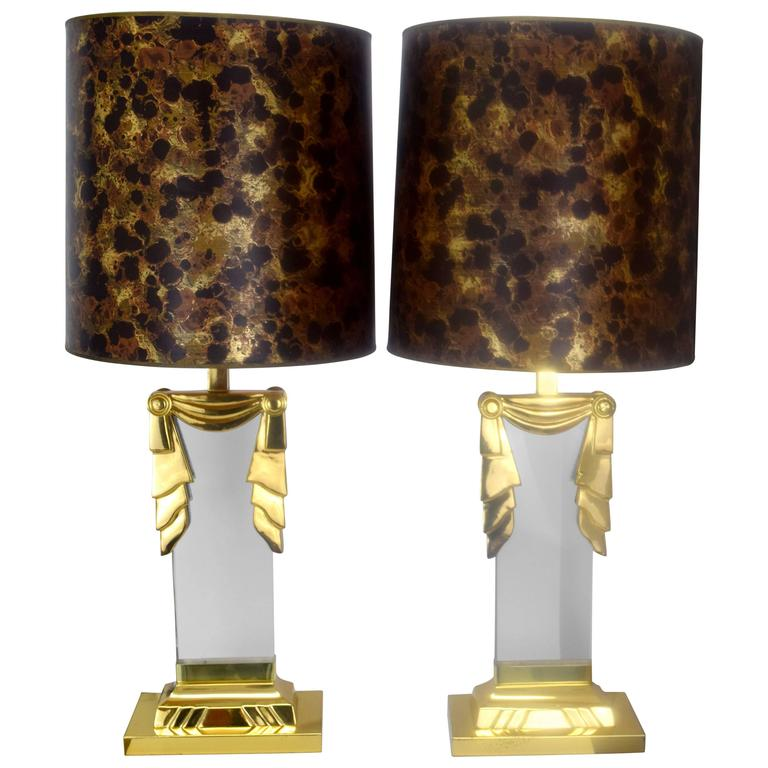 Karl Springer Style Hollywood Regency Lucite and Brass Lamps, Pair