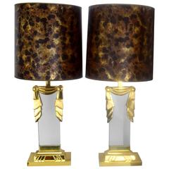 Hollywood Regency Lucite and Brass Lamps, Pair