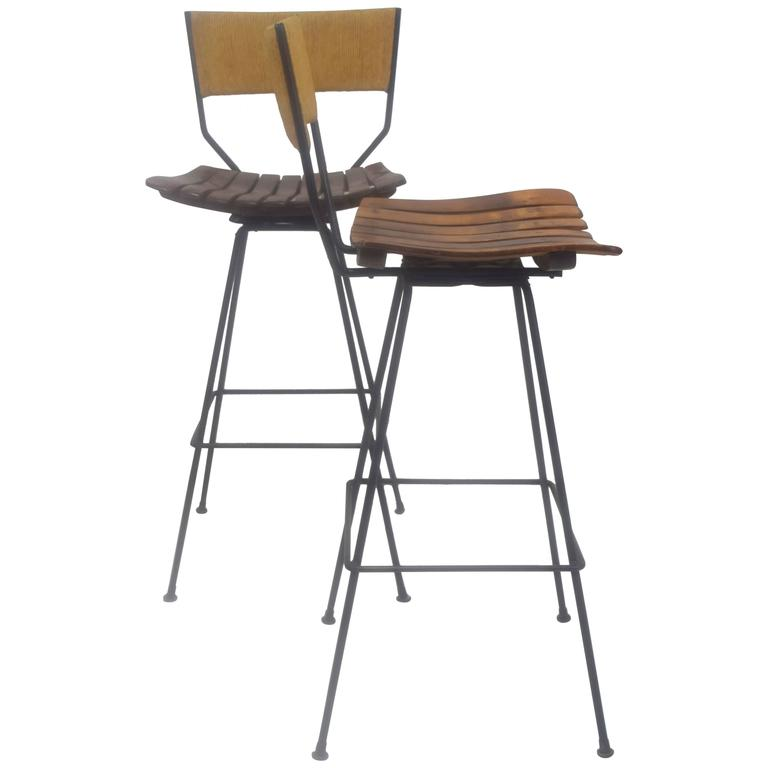 Pair Of Arthur Umanoff Swivel Bar Stools At 1stdibs