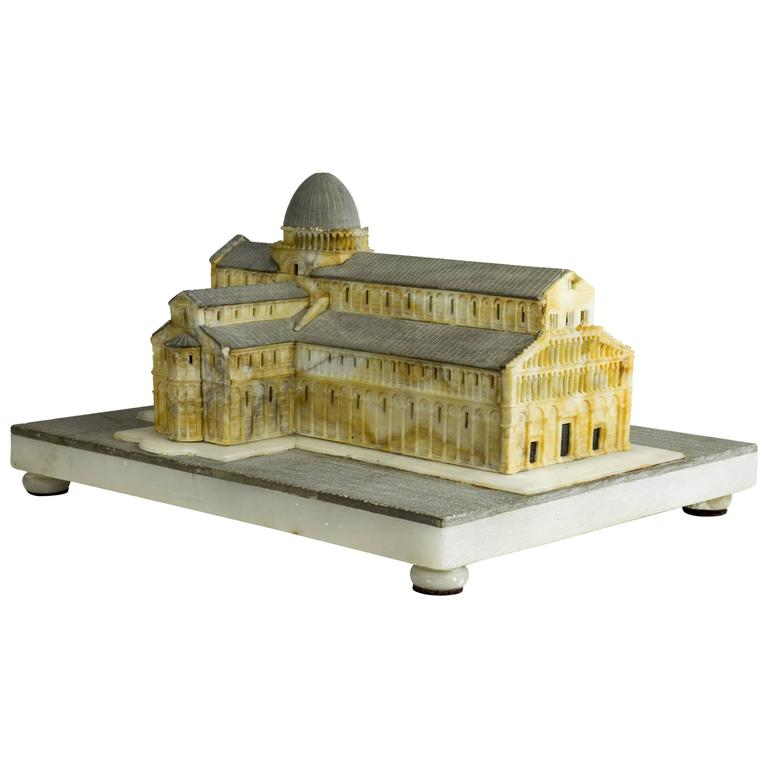 c. 1870 highly-detailed Grand Tour alabaster model of Pisa Cathedral