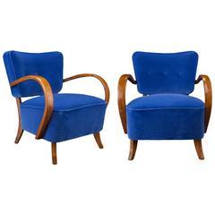 Pair of H-237 Jindrich Halabala Chairs