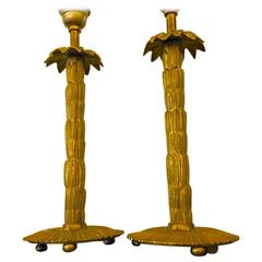 Maison Bagues Superb Pair Small Refined of Gold Bronze Palm Table Lamps