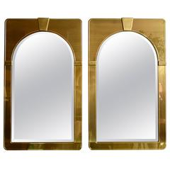 Pair of 1970's Brass Mastercraft Mirrors