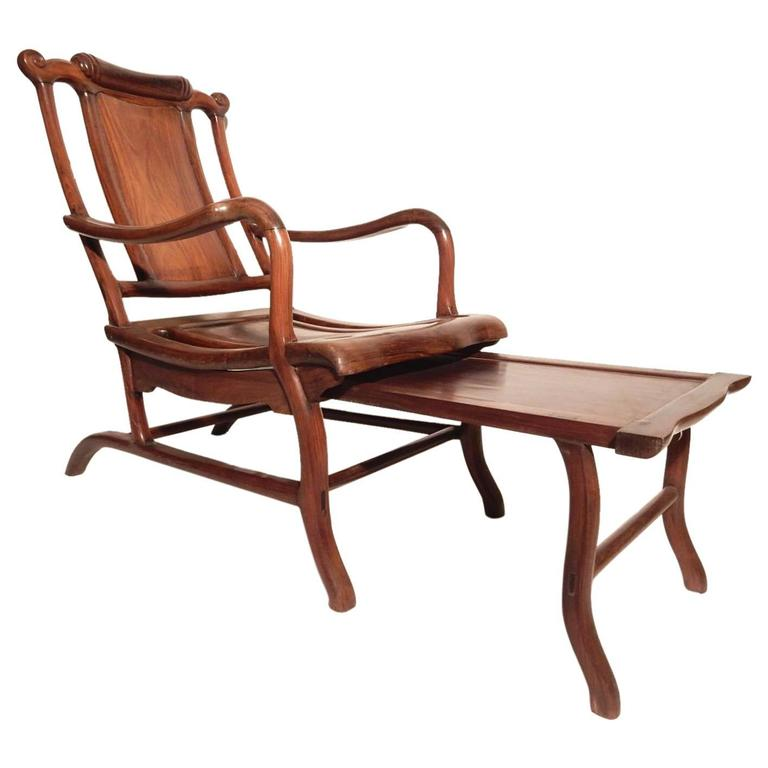 "19th Century Chinese Sculptural Teak Wood ""Moon Gazing"" Lounge Chair"