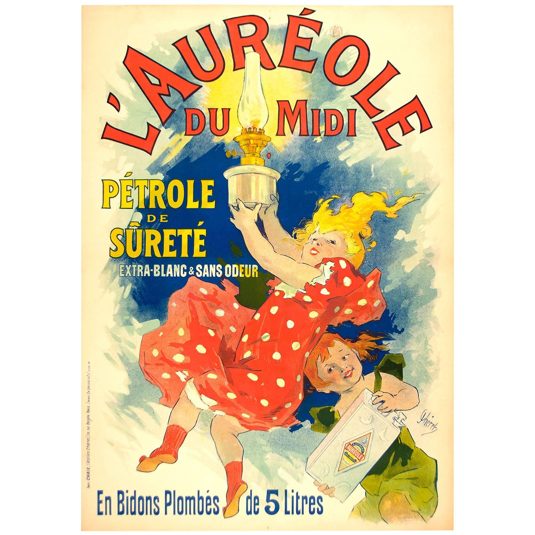 Original l'Aureole Poster Advertisement by Jules Cheret