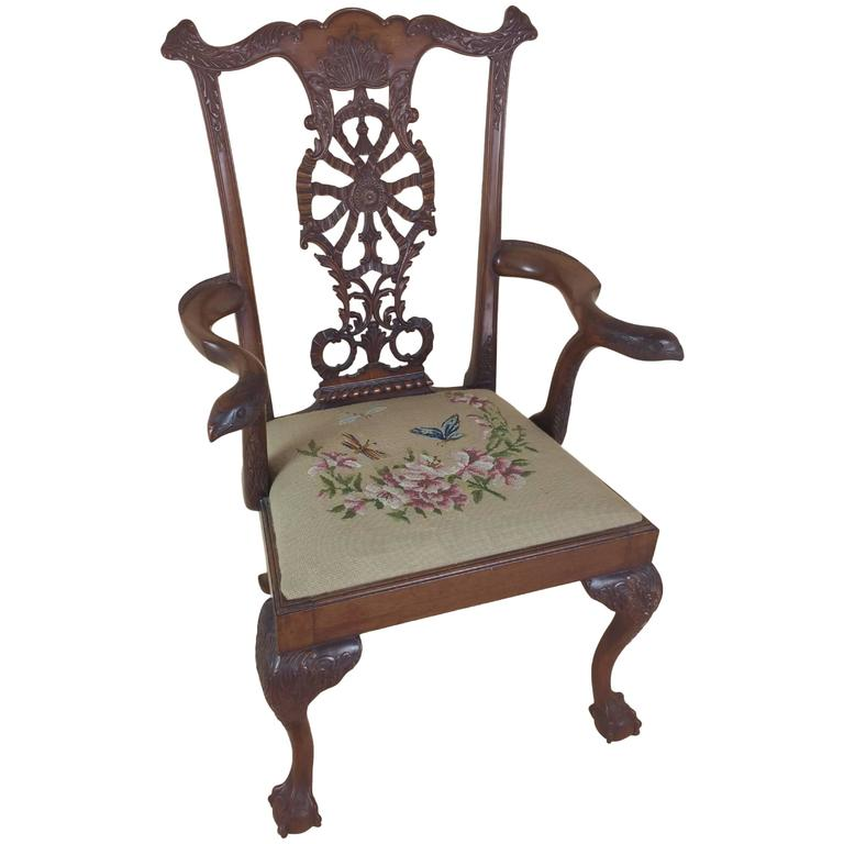 Edwardian Chippendale Style Carved Elbow Chair 1