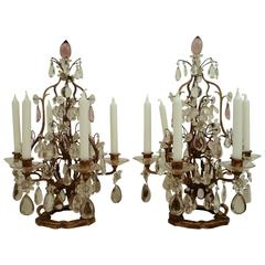 Pair Louis Style Gilt Iron And Cut Crystal Candelabra