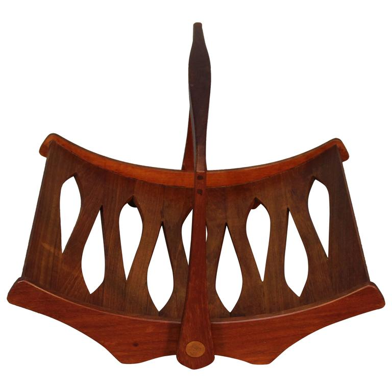 Jens Quistgaard Staved Teak Magazine Rack for Dansk For Sale