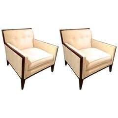 Pair of Walnut Deco Style Lounge Chairs