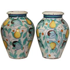 Large Pair Vintage Italian Pottery Faience Majolica Vases Urns Cantagalli