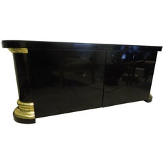 Masculine and Sexy Black and Brass Vintage 1970s Sideboard