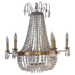 19th Century Empire Style Six Arm Crystal and Bronze Chandelier
