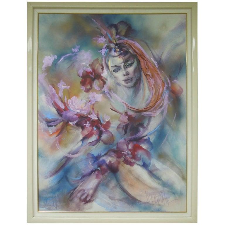 Hyacinth Kuller Baron Female Portrait Original Oil on Canvas Painting For Sale