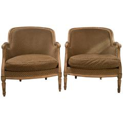 Pair of Louis XVI Style French Bergere Chairs