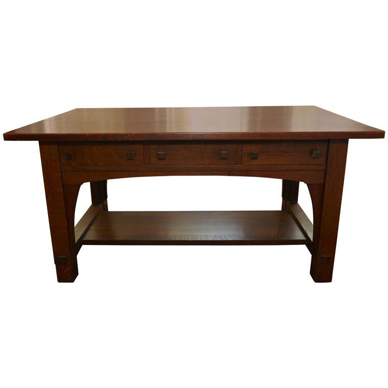 Charles Limbert Large Library Desk Table, circa 1905