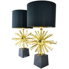 Pair of Sputnik Bronze Table Lamps
