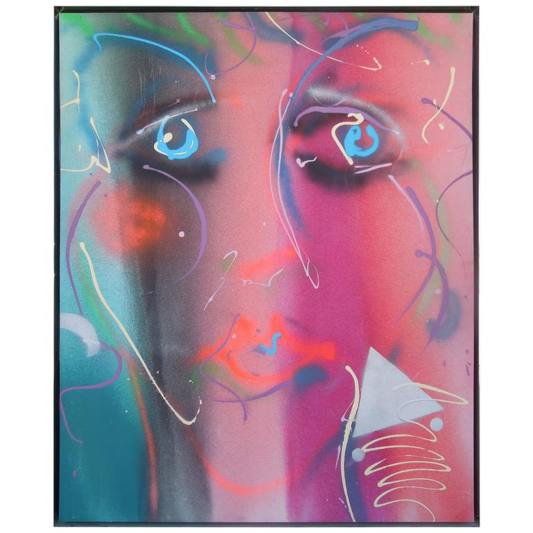 1980s Style Glam Monumental Painting Female Face by Greg Copeland