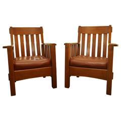 Pair Harden Mission Arts and Crafts Armchairs, circa 1907