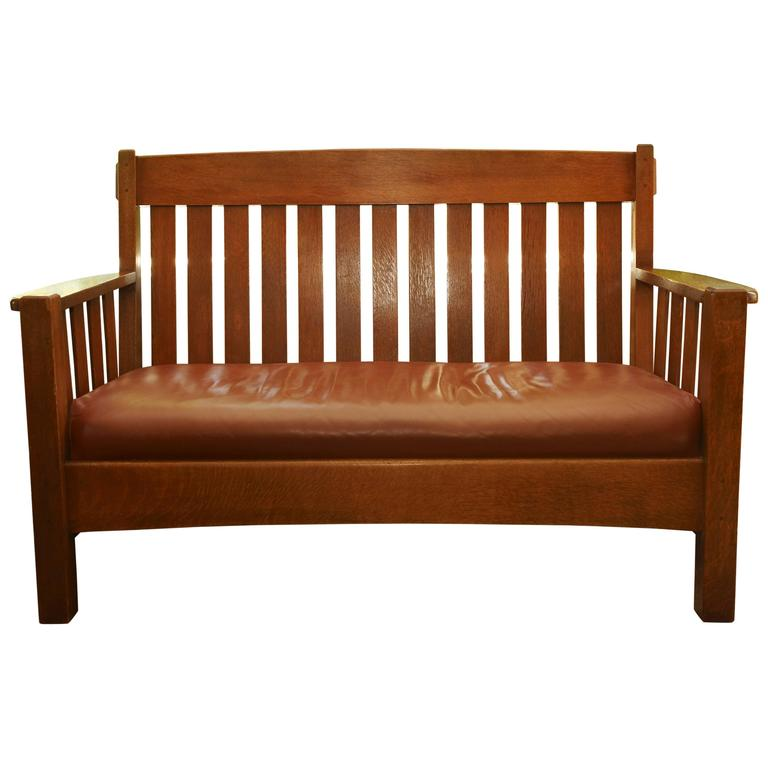 Merveilleux Mission Settee Harden Furniture Co., Circa 1907 For Sale