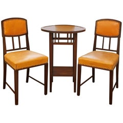 Rare Brazilian Jacaranda Two Chairs and Table Art Nouveau Set, circa 1900