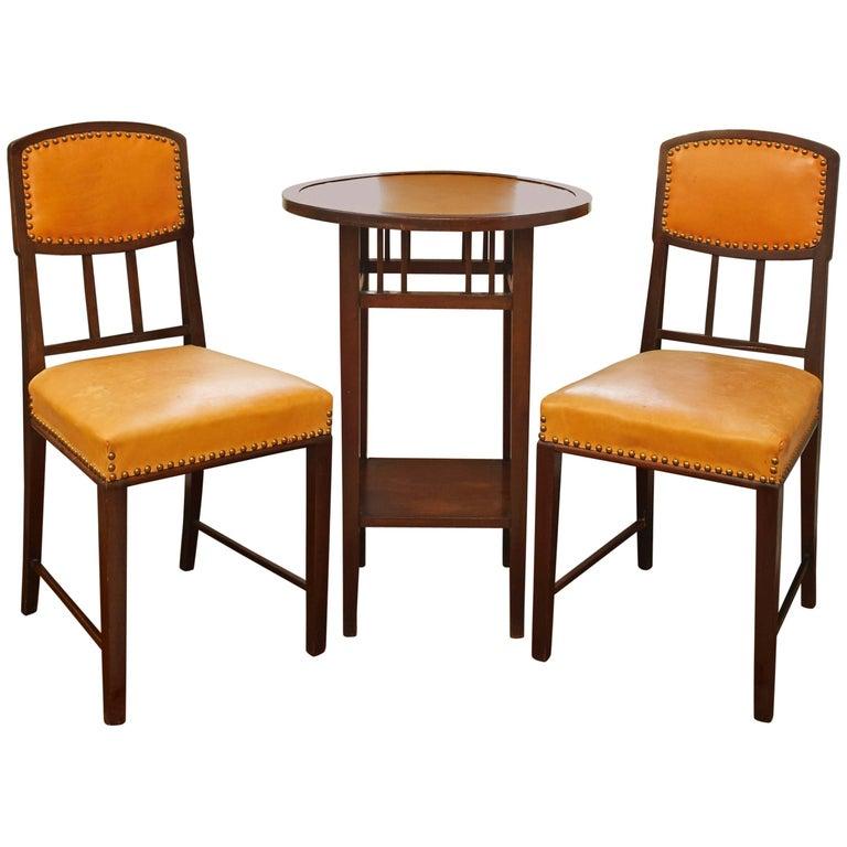Rare Brazilian Jacaranda Two Chairs and Table Art Nouveau Set, circa 1900 For Sale