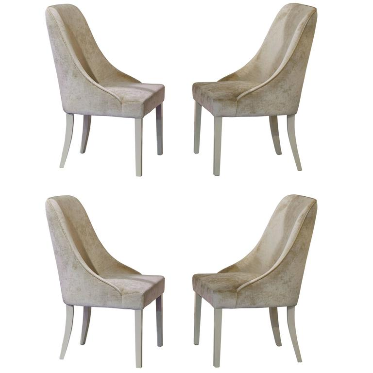 Set Of Four White Velvet Dom Edizioni Grace Dining Chairs From Italy 1
