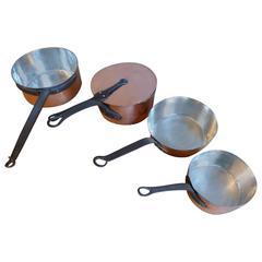 Magnificent Set of Re-Tinned Antique Copper Pans, Copper Pots